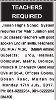 Jinnah High School Multan Jobs