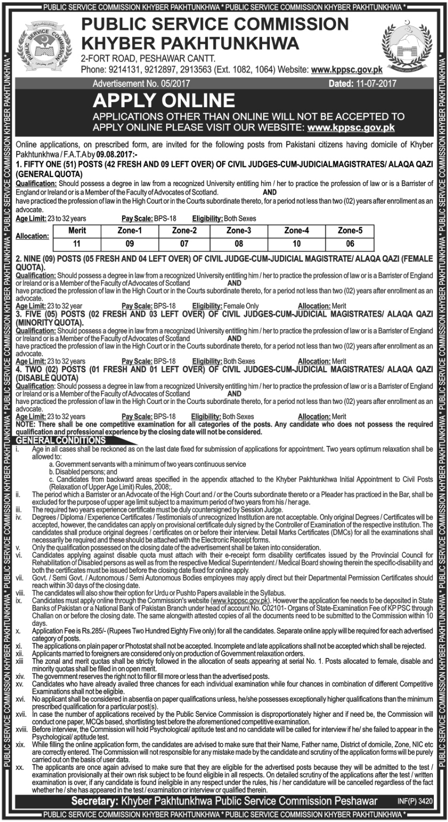 Public Service Commision Khyber Jobs