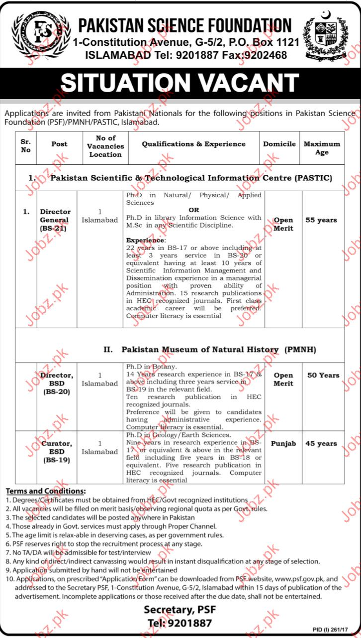 Director jobs In Pakistan Science Foundation