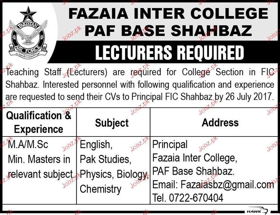 Fazaia Inter College PAF Base Shahbaz Jobs