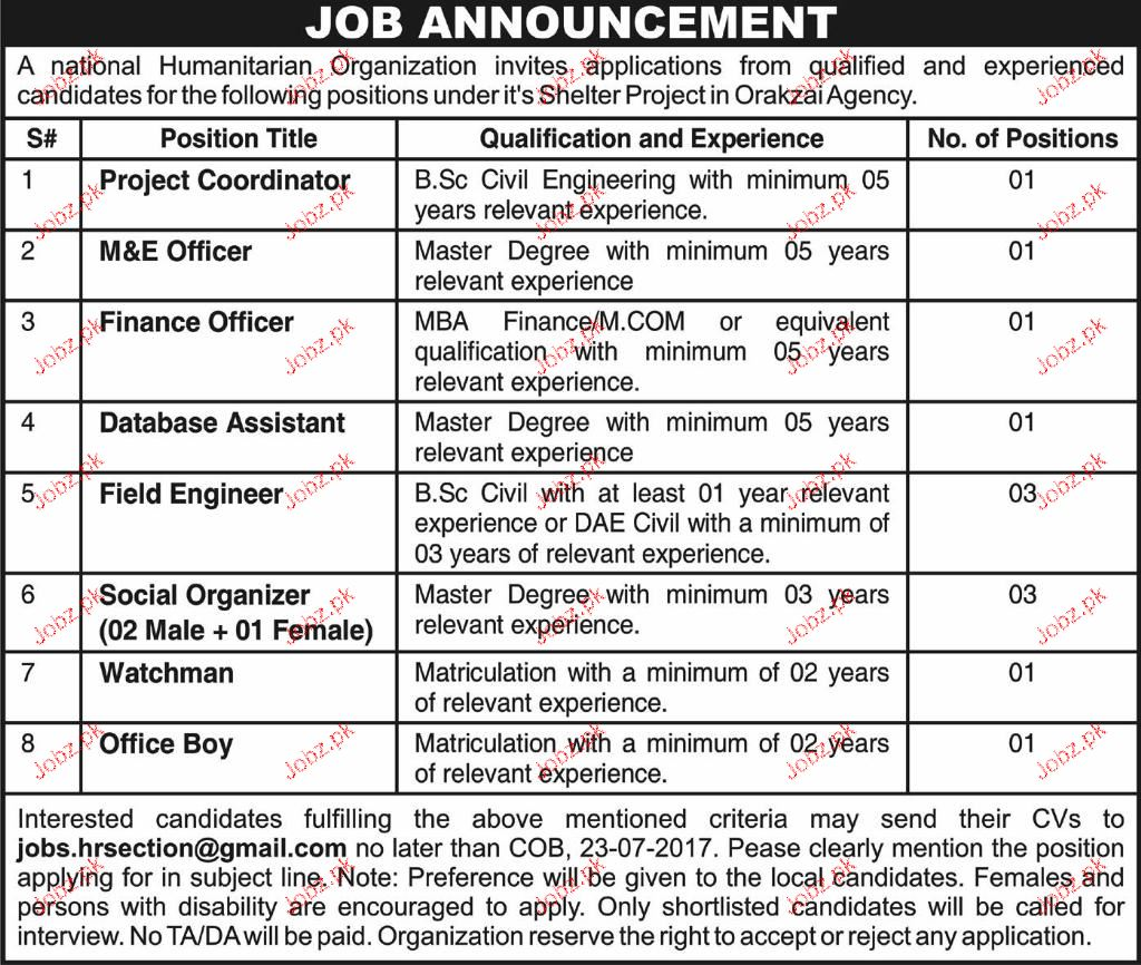Project Coordinators, M & E Officers, Finance Officer Wanted