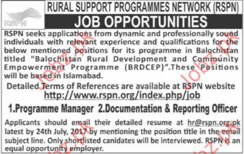 Manager Jobs In Rural Support Programmes Network PRPN