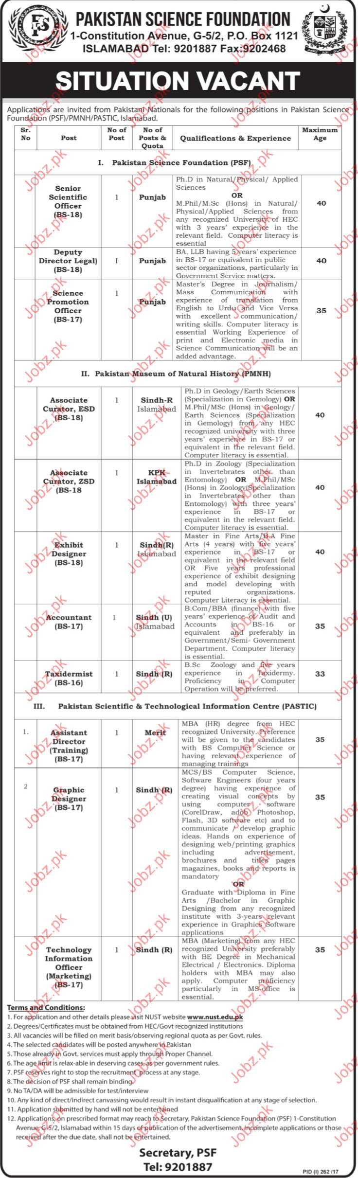 Deputy Director Legal  Jobs In Pakistan Science Foundation
