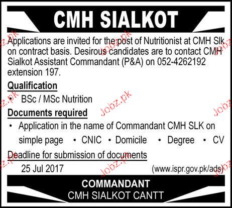 Combined Military Hospital CMH Sialkot Jobs