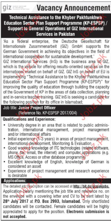 Technical Assistance Jobs In Khyber Pakhtunkhwa Education