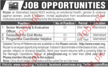 Senior Monitoring Evaluation Jobs In Rozan NGO