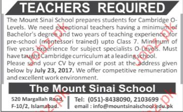 Teachers Required In Mount Sinai School