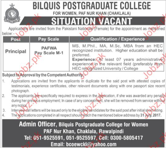 Principal Jobs in Bilquis Post Graduate College For Women
