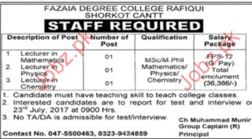 Teaching Jobs In Fazaia Degree College Rafiqui