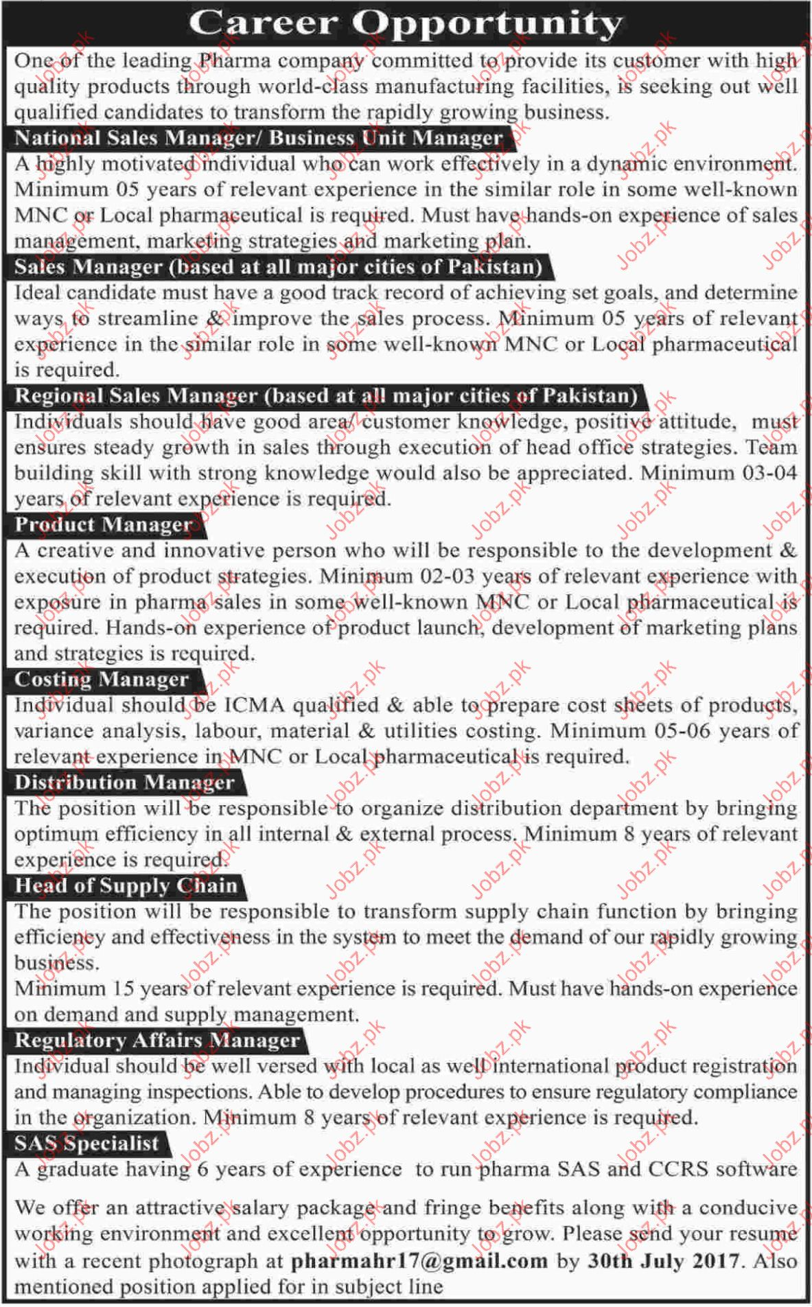 National Sales Manager Jobs In Pharma Company
