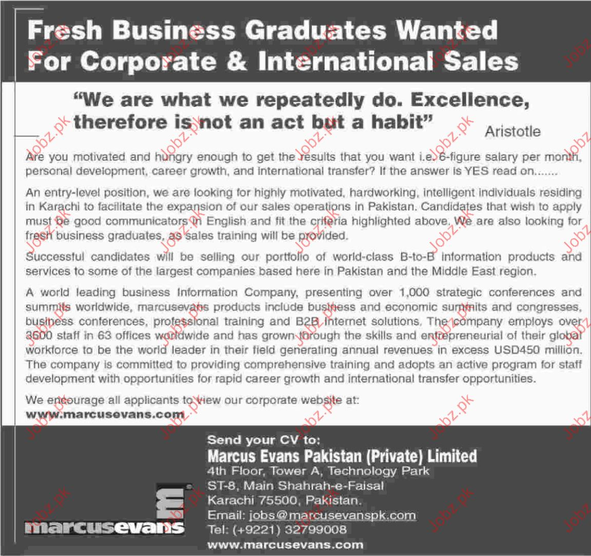 Marcus Evans Pakistan Ltd Careers