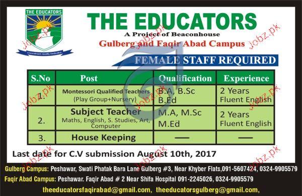 Female Montessori Teachers, Subject Teachers Job Opportunity