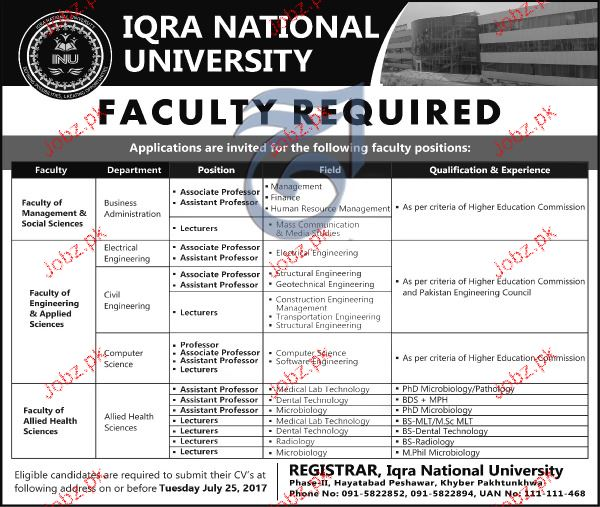 Associate Professors, Lecturers Job Opportunity