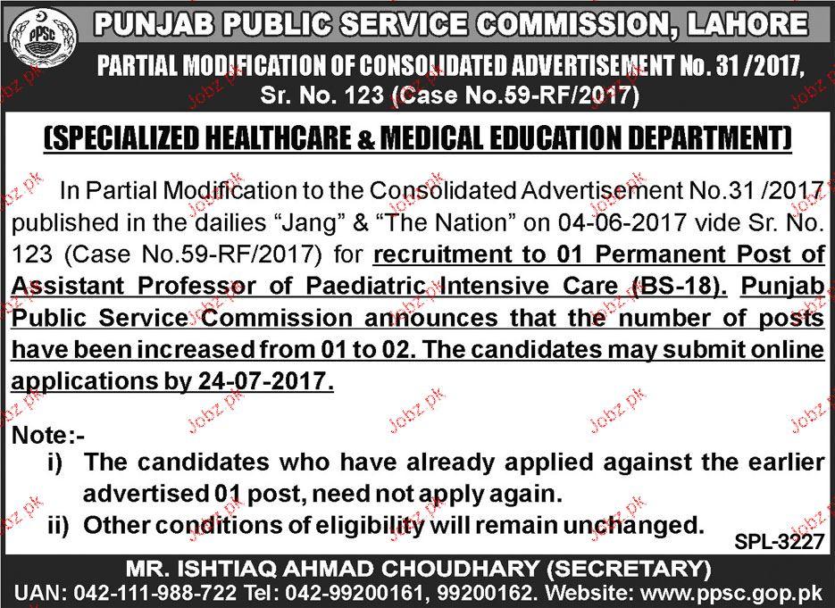 Punjab Public Service Commission Ppsc Jobs 2017 Advt 24