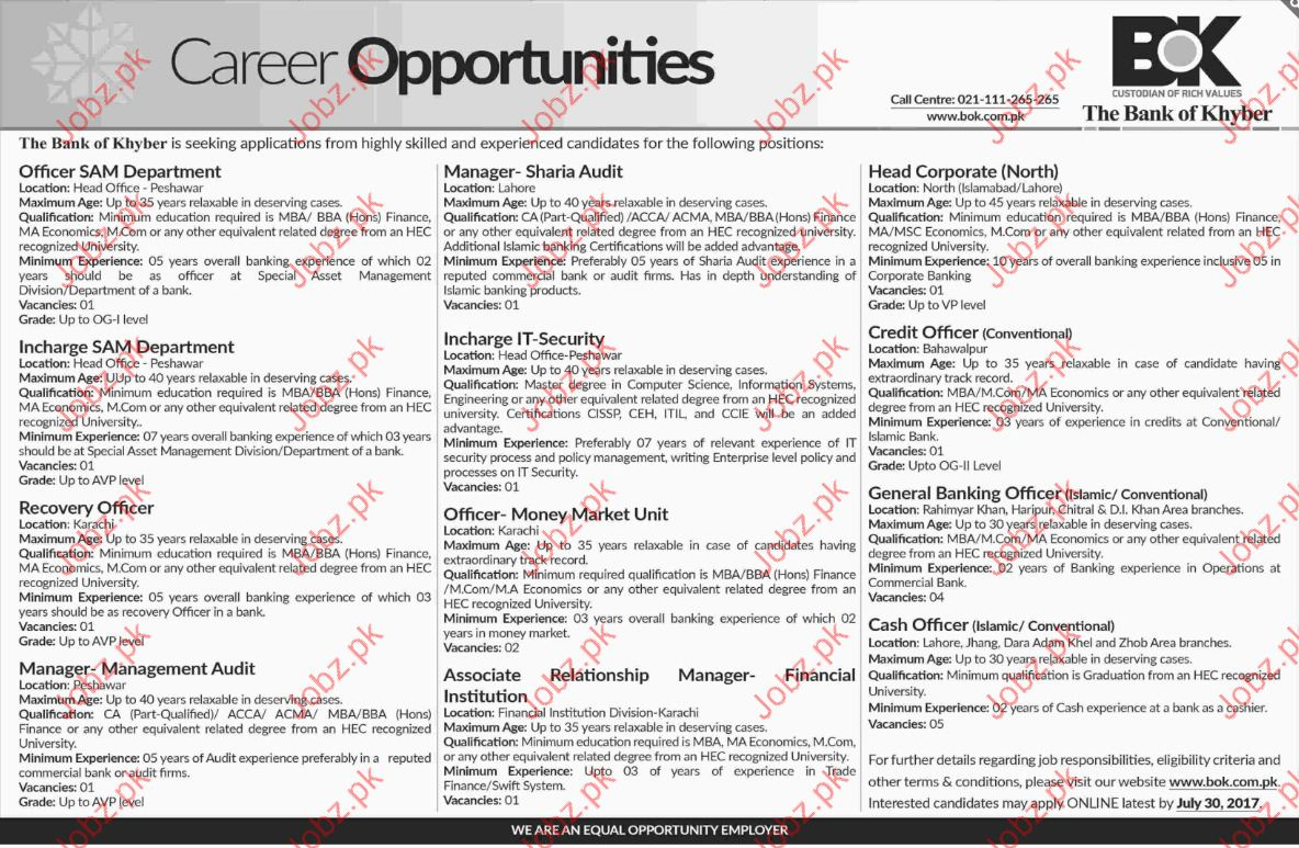 Manager Jobs In The Bank Of Khyber