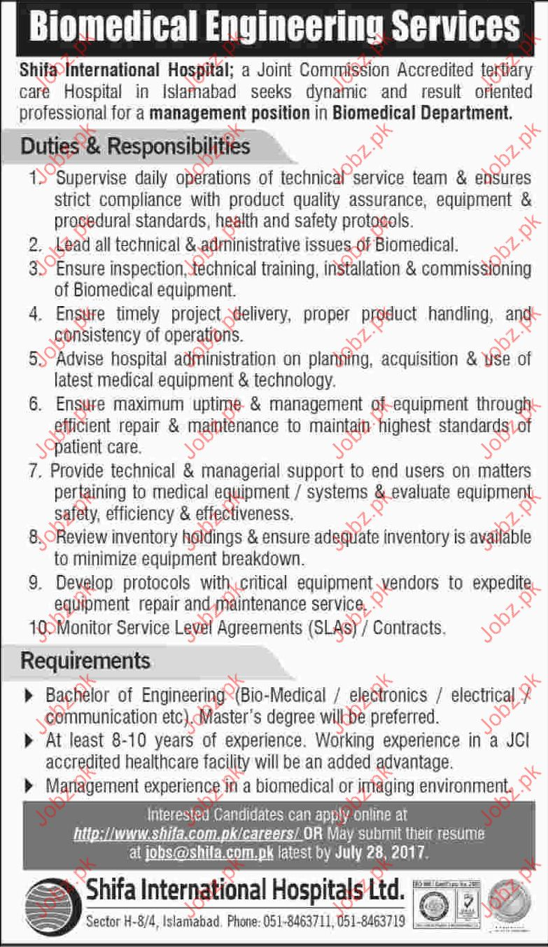 Management Jobs In Shifa International Hospital