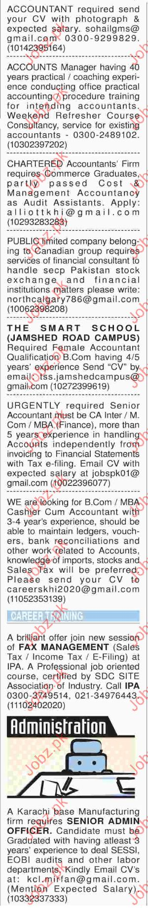 Female Accountant Required in The Smart School