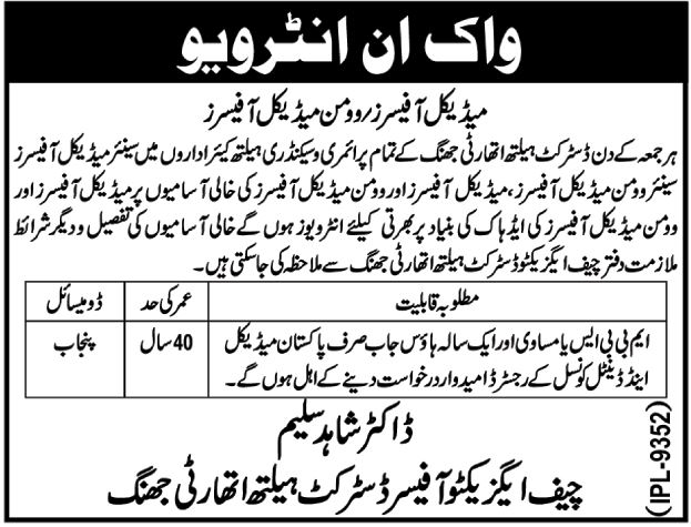 District Health Authority Jhung Jobs