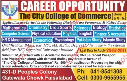 The City College Of Commerce Required Lecturers