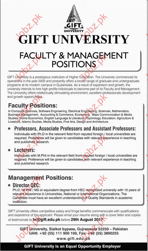 GIFT university Required Management Staff