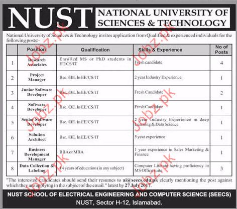 Research Jobs In National University Of Science & Technology