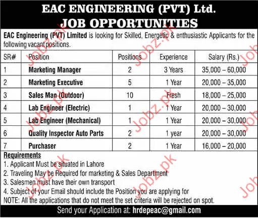 EAC Engineering Company Required Marketing Manager