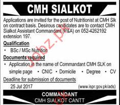 Nutritionist Required For CMH Sialkot