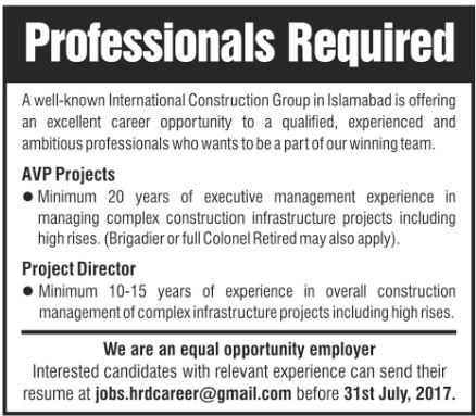 Jobs in Construction Company