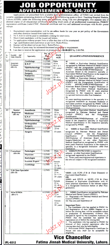 Fatima jinnah Medical University FJMU Jobs