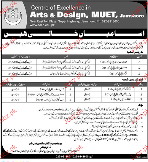 Arts & Design, MUET Jamshoro Jobs 2017