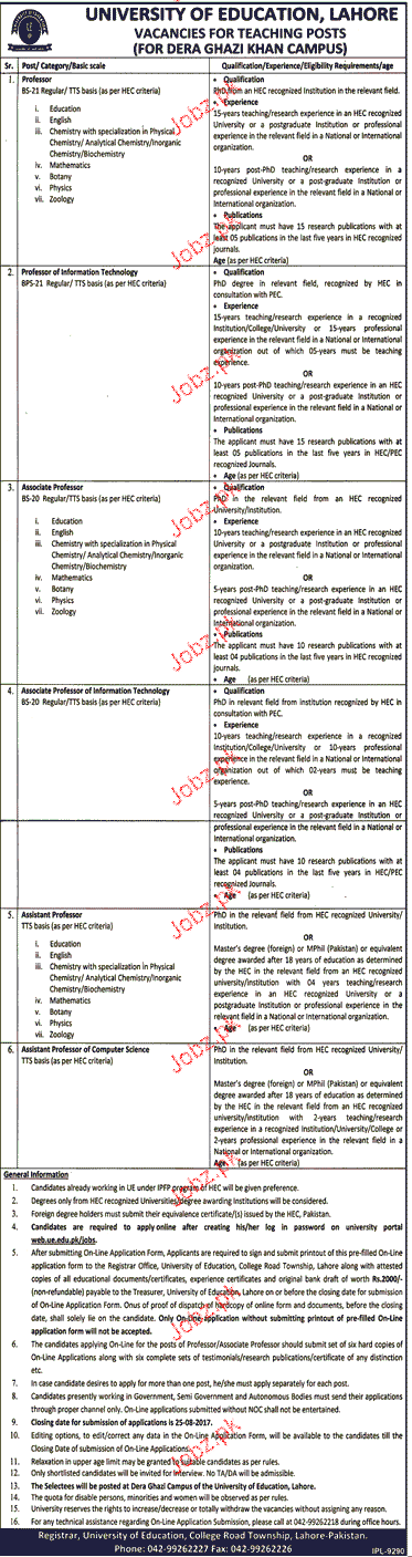 University of Education Lahore Teaching Jobs
