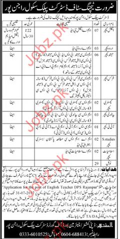 Teaching Staff Required In District Public School