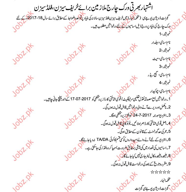 Work Charged Employees Recruitment Jobs 2017