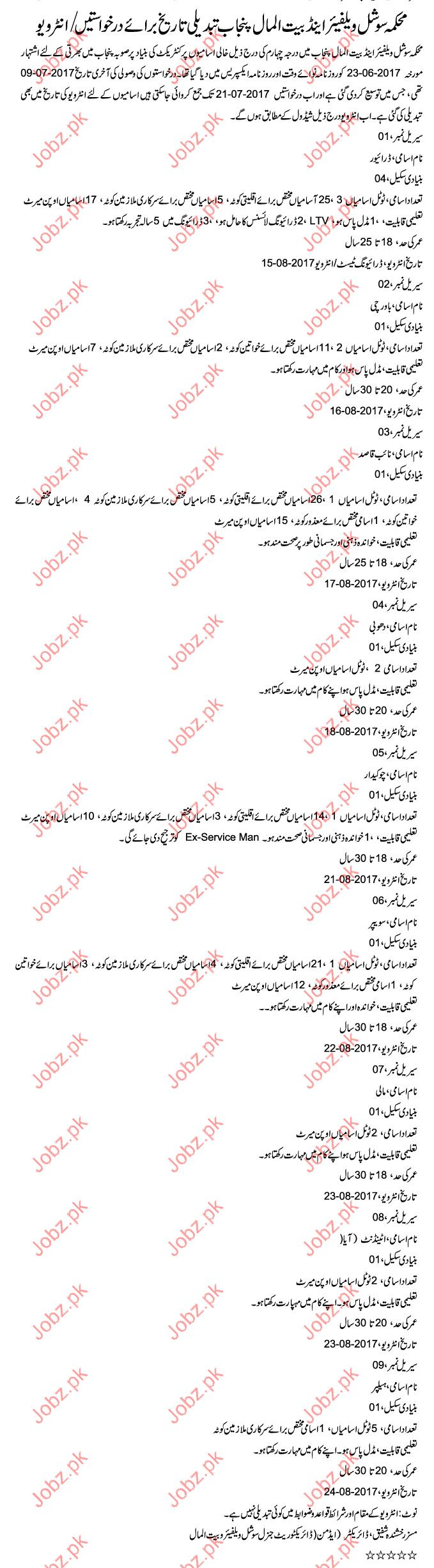 Social Welfare & Bait Ul Maal Department Required Drivers