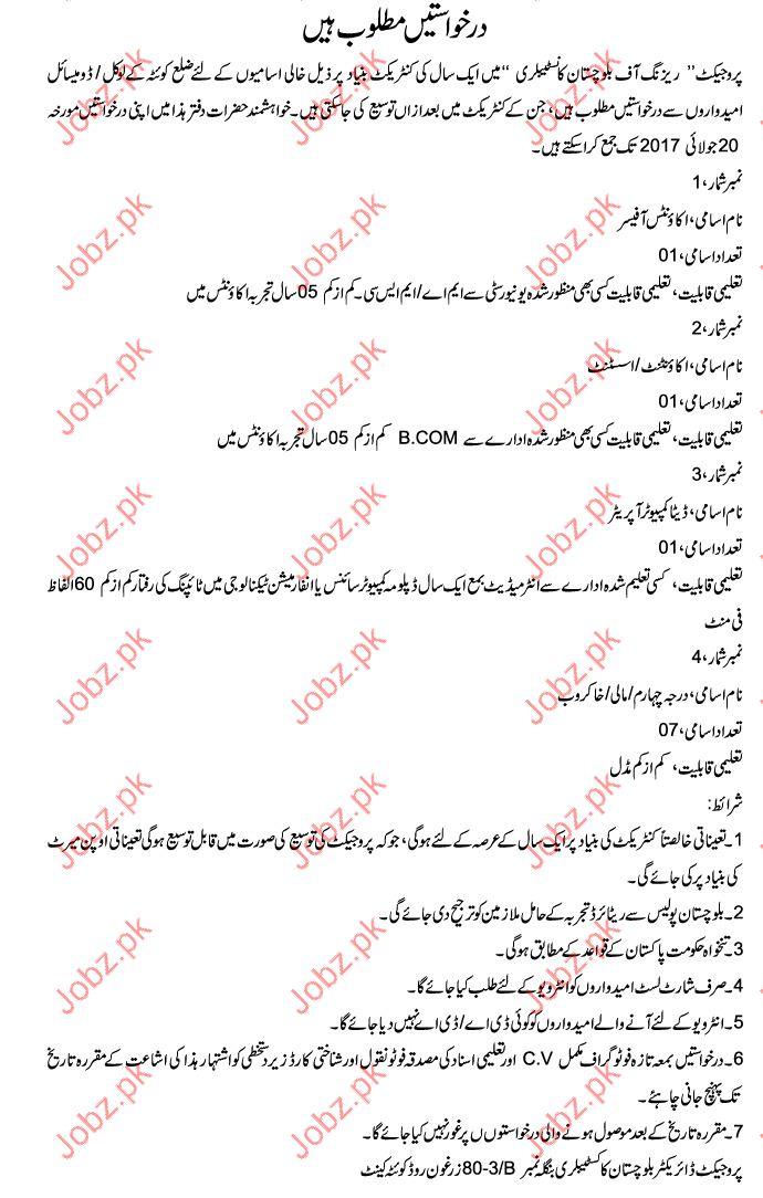 Raising Of Baluchistan Constabulary Jobs 2017