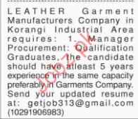 Leather Garments Company Required Procurement Manager