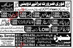 Electricians, AC Technicians, Plumbers Job Opportunity