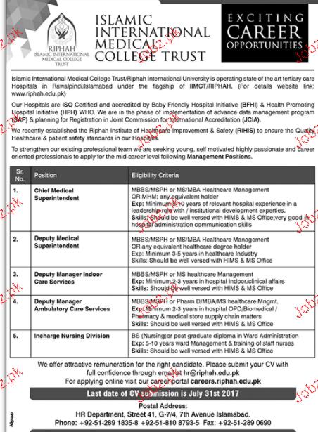 Islamic International Medical College Job Opportunity