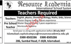 Pre School Teachers Job Opportunity