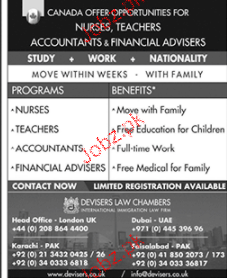 Nurses, Teachers, Accountants Job Opportunity