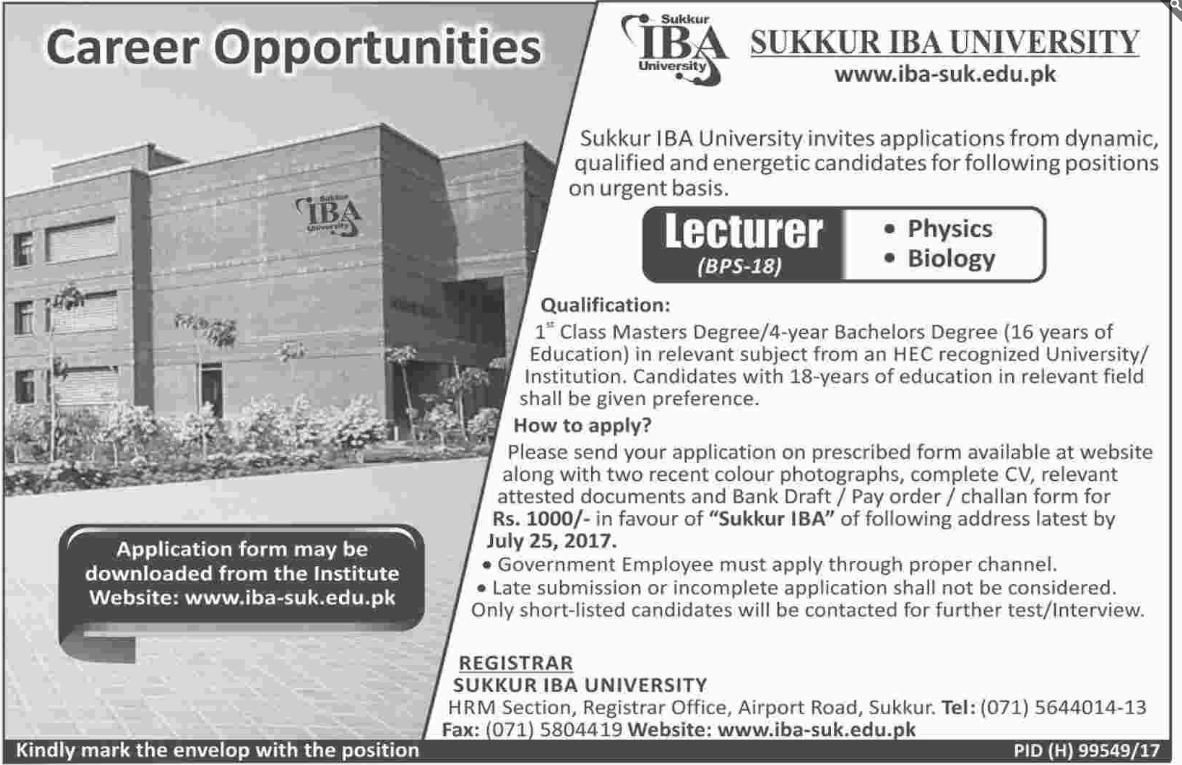 Sukkar  IBA University Jobs