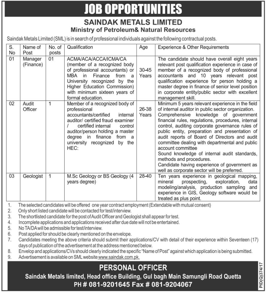 Saindak Metals Limited Quetta  Jobs