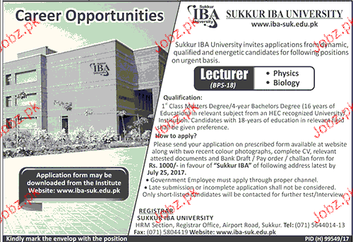 IBA Sukkur Institute of Business Administration Jobs