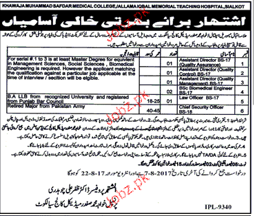 Khawaja Safdar Medical College Job Open