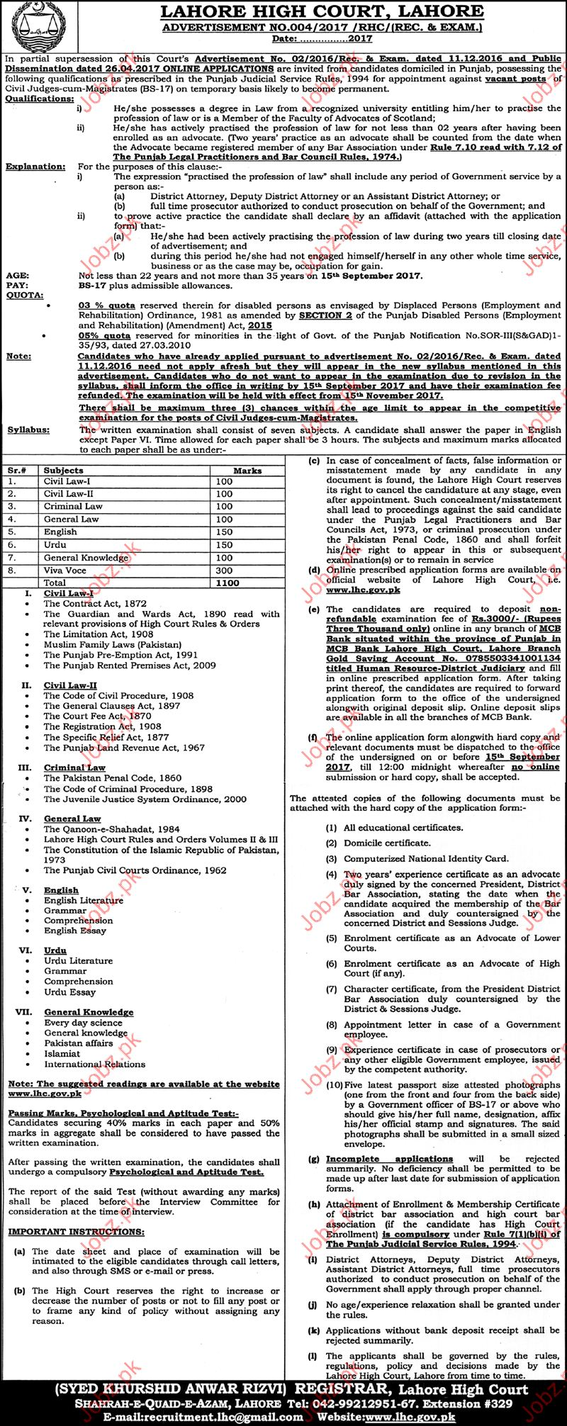 High Court Lahore Jobs