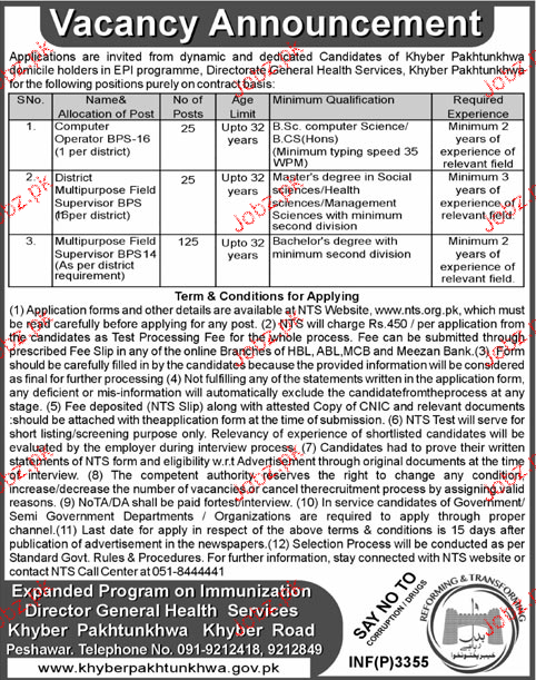General Health Services Khyber Pakhtunkhawa NTS Jobs Open