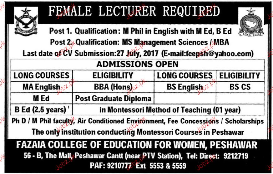 Fazaia College of Education for Women Jobs