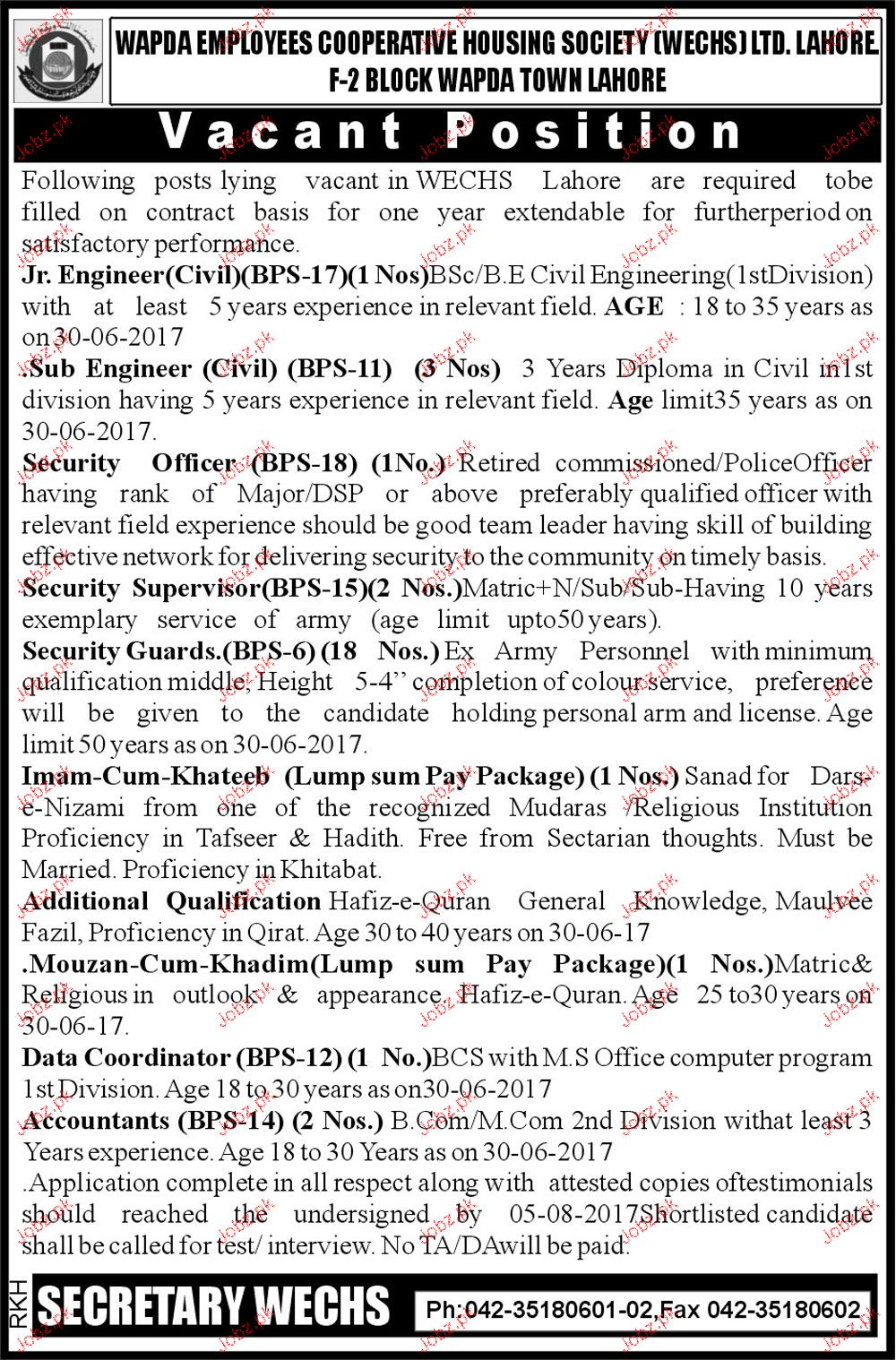 WAPDA Employees Cooperative Housing Society Jobs