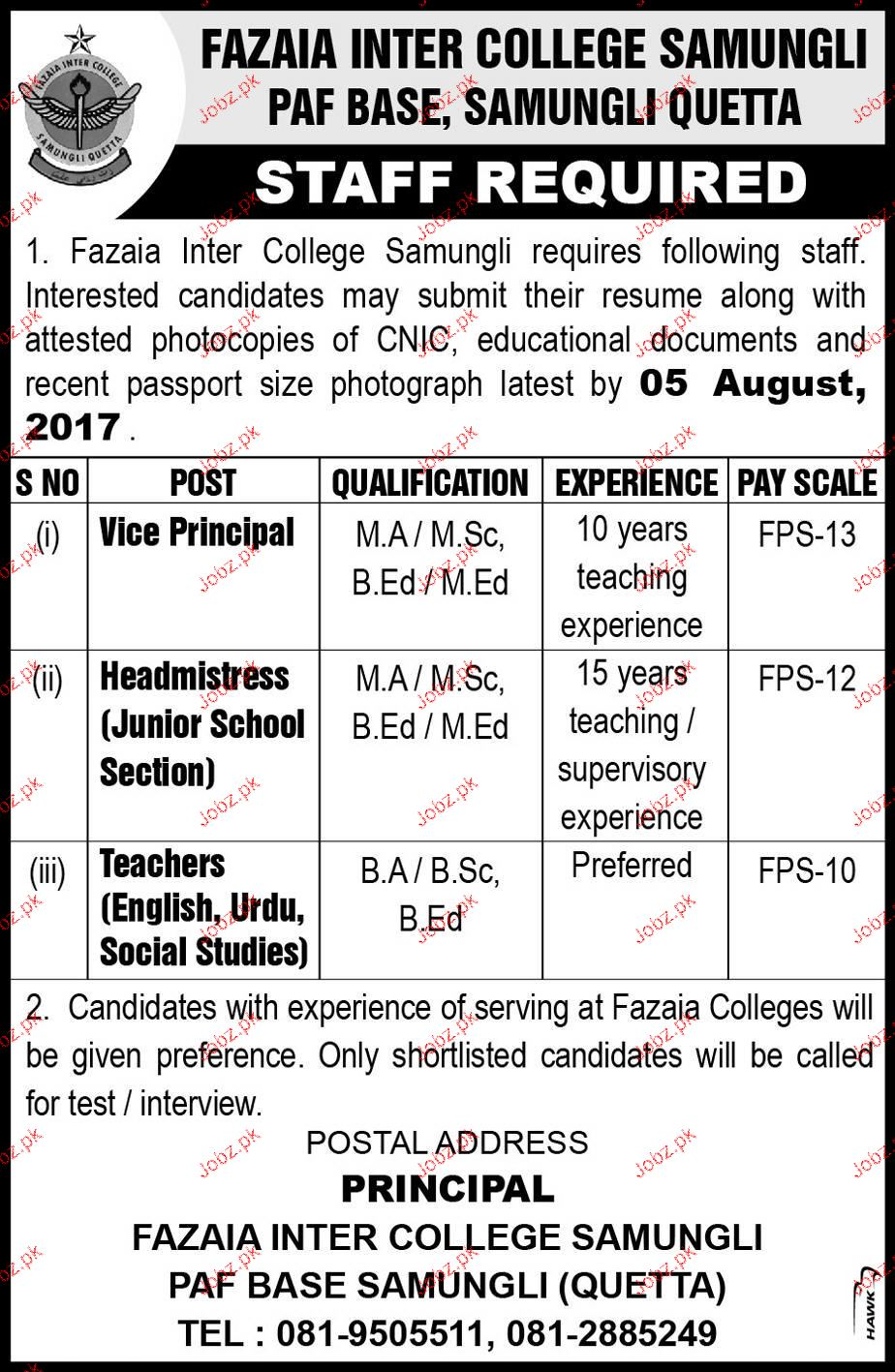 Fazaia Inter College Samungli PAF Base Jobs
