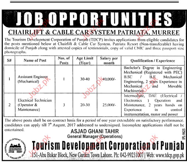 Technical Jobs In Tourism Development Corporation Of Punjab